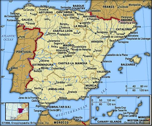 Spain Andalucia, Barcelona, and central Spain, 1995 (map, info).